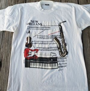 Vtg Single Stitch New Orleans Jazz Shirt size L